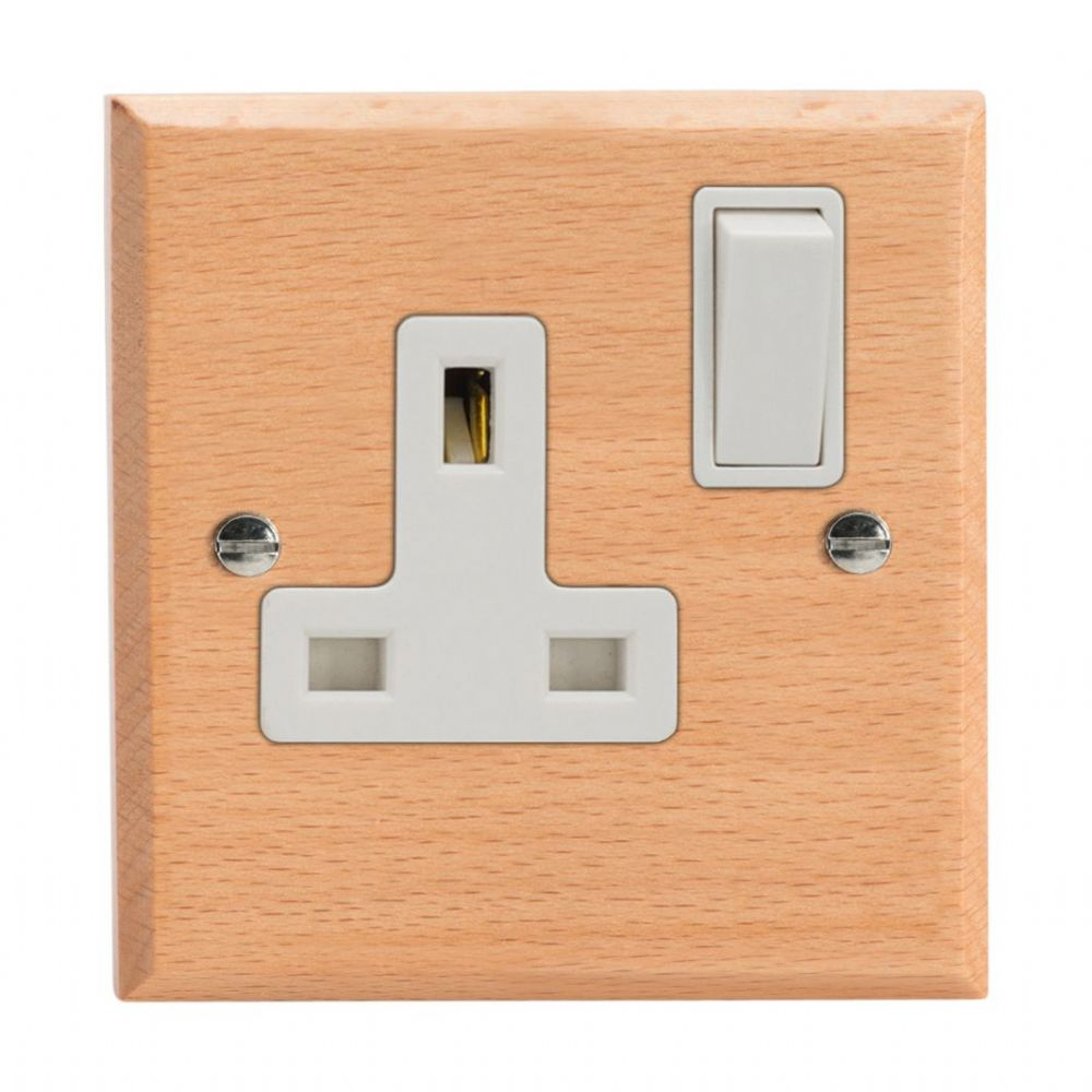 Varilight XK4BEW Kilnwood Scandic Beech 1 Gang 13A DP Single Switched Plug Socket